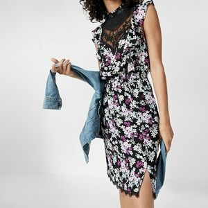Floral Print Pieced Lace High Neck Dress